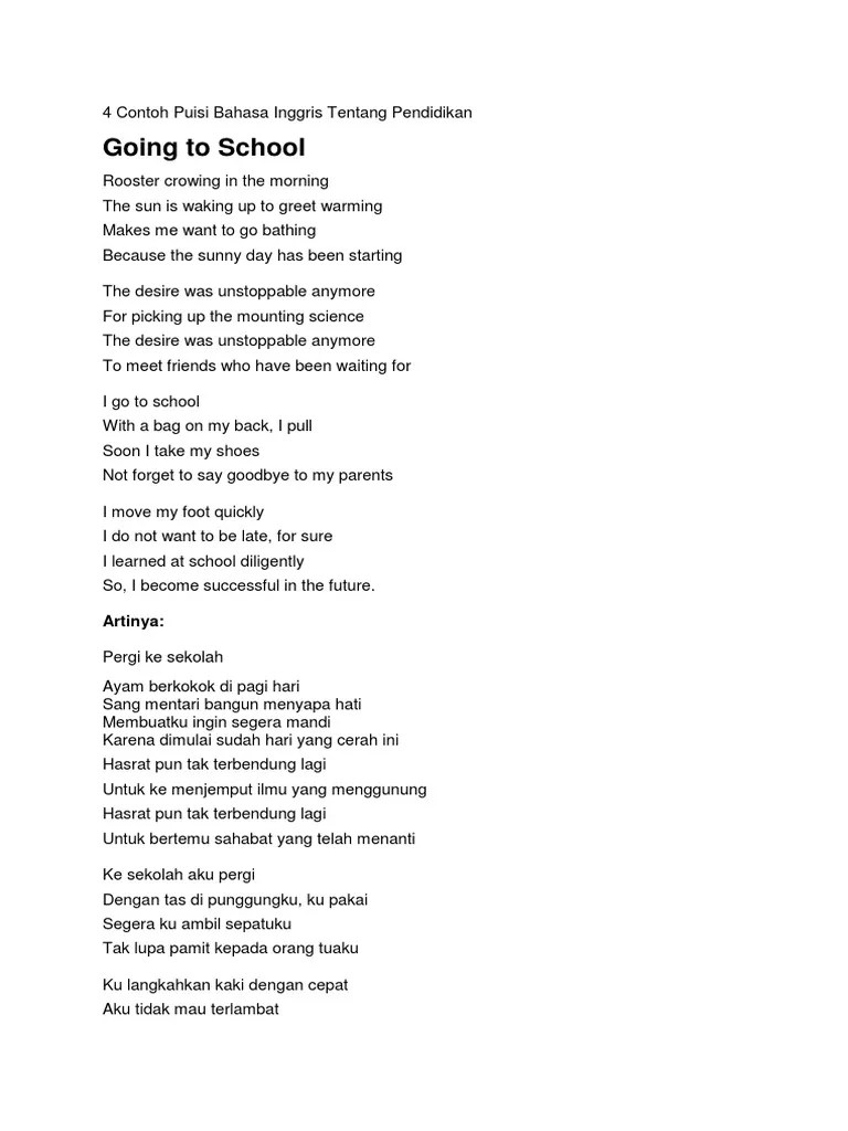 5 Contoh Puisi Bahasa Inggris Tentang Ibu Dan Artinya Kt Puisi Cute766