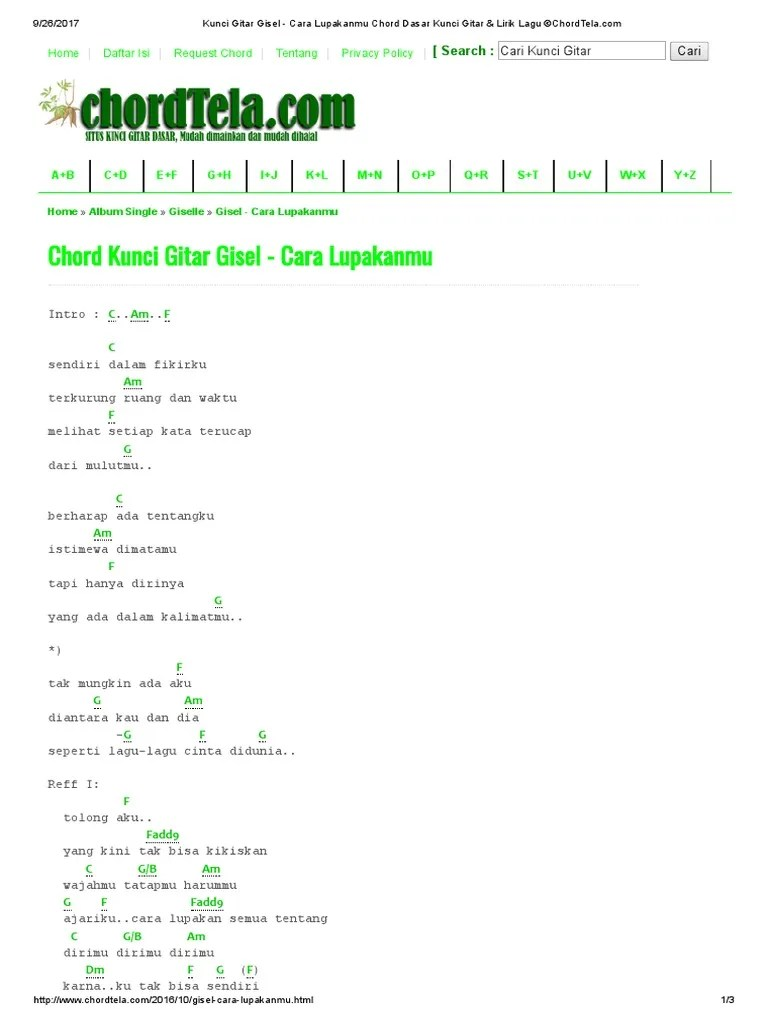 Chord Gitar: Chordarena - Cara Lupakanmu by Gisel
