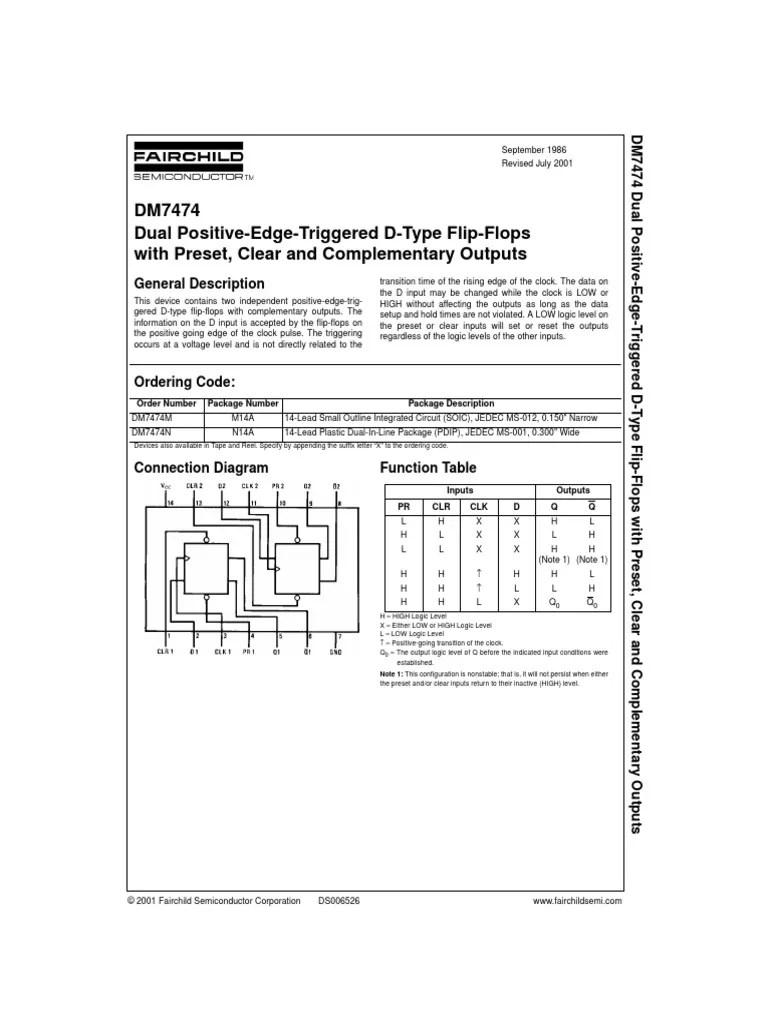 hoja caracteristicas 7474 pdf digital electronics electrical circuits [ 768 x 1024 Pixel ]