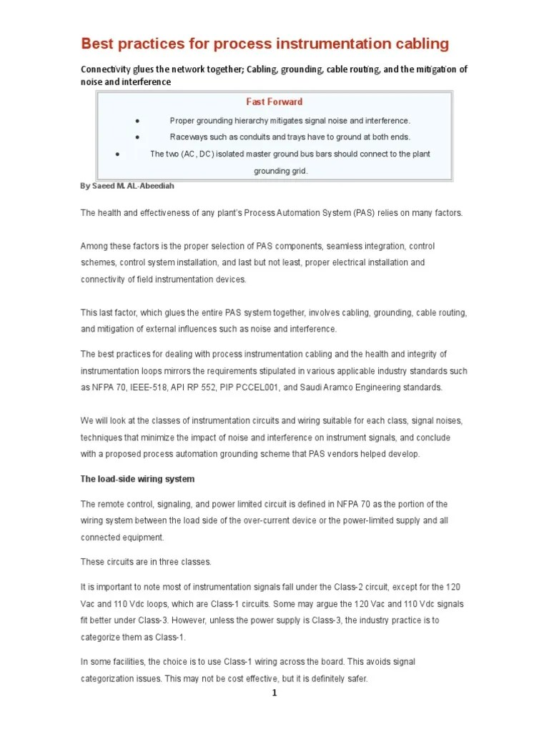 best practices for process instrumentation cabling electrical wiring electromagnetic interference [ 768 x 1024 Pixel ]