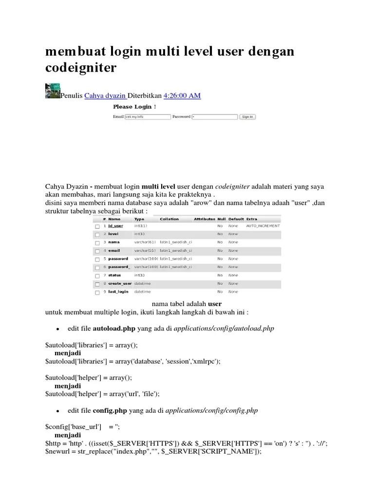 Membuat Login Multiuser dengan Codeigniter 3 + Mysql