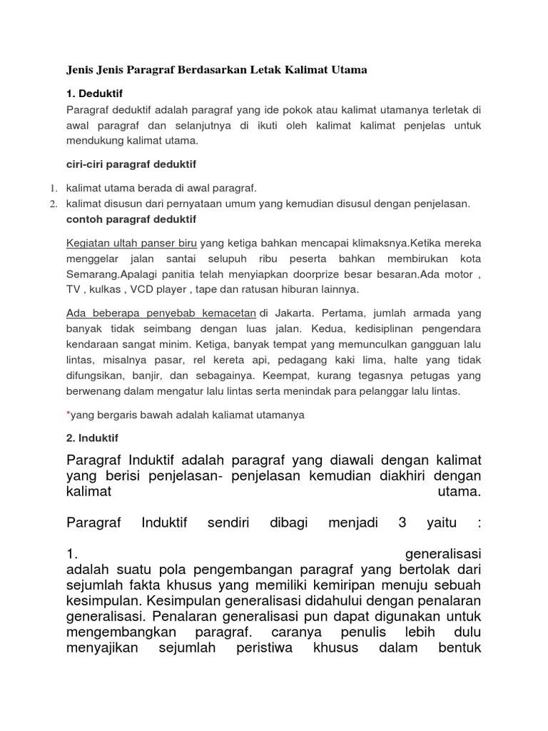 Paragraf Yang Ide Pokoknya Terletak Diawal Paragraf Disebut : paragraf, pokoknya, terletak, diawal, disebut, Jenis, Paragraf, Berdasarkan, Letak, Kalimat, Utama