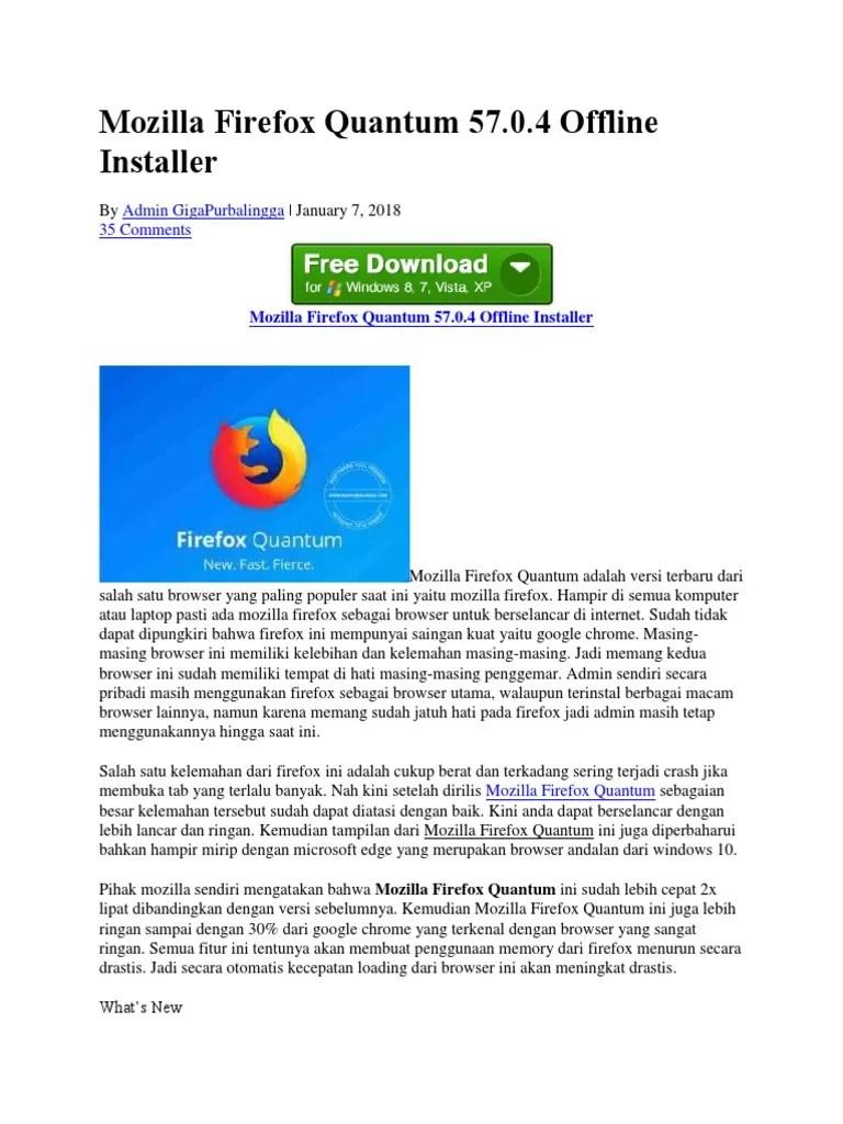 Mozilla Firefox Quantum 57.0.4 Offline Installer