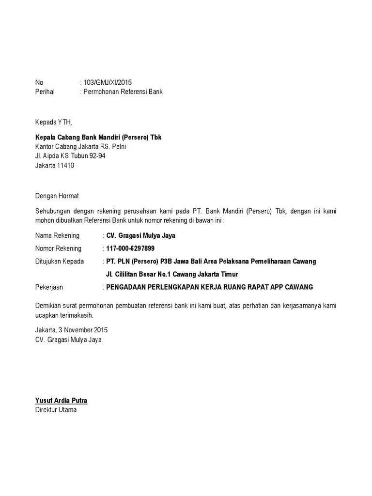 Contoh Format Surat Permohonan Dukungan Bank