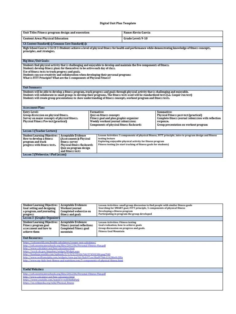 Digital Unit Plan Fitness Physical Fitness Educational Assessment