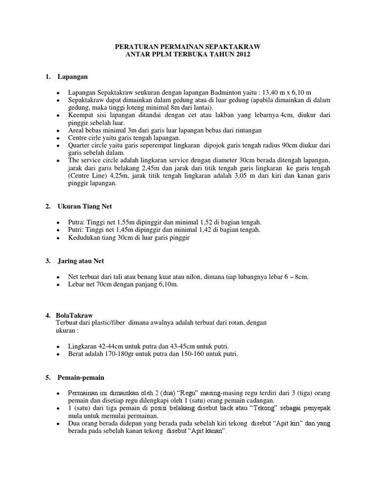 Peraturan Takraw : peraturan, takraw, Peraturan, Permainan, Sepaktakraw