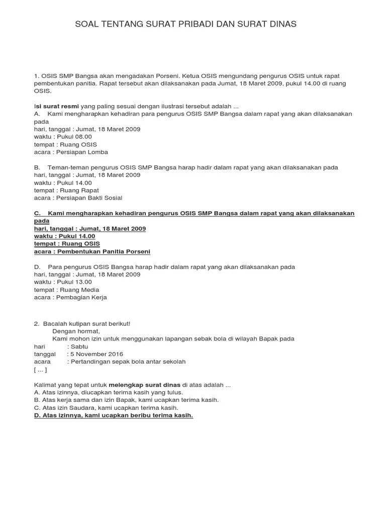 RPP: Surat Dinas dan Surat Pribadi - Kecilnyaaku.com