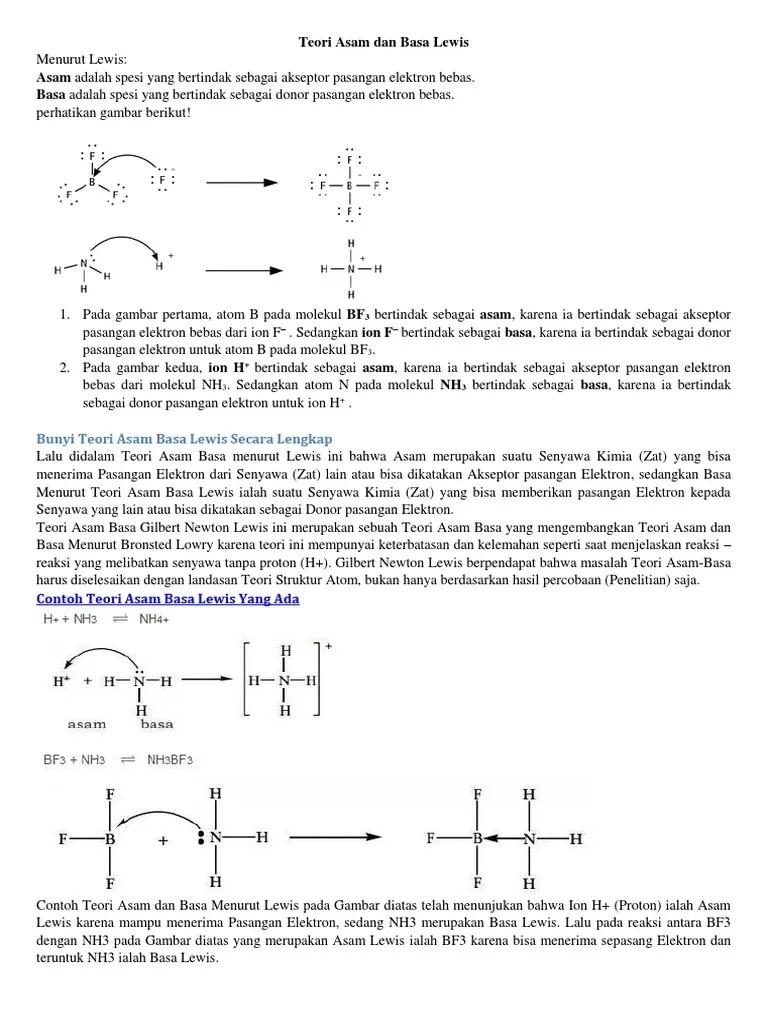 Asam Basa Lewis   Ilmu Kimia   Artikel dan Materi Kimia