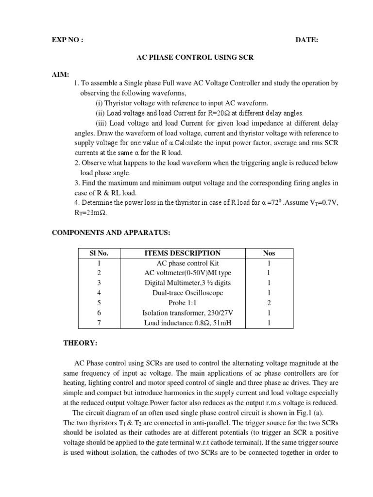 small resolution of ac phase control using scr rectifier alternating current