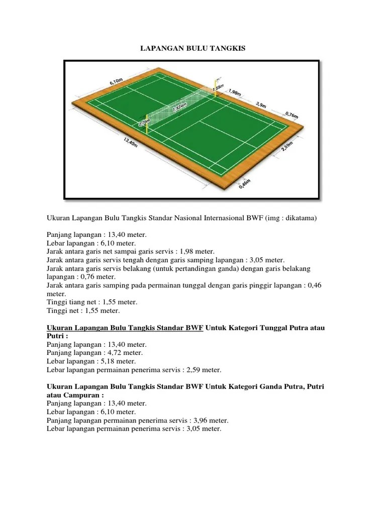 Lebar Dan Panjang Lapangan Bulu Tangkis : lebar, panjang, lapangan, tangkis, LAPANGAN, TANGKIS