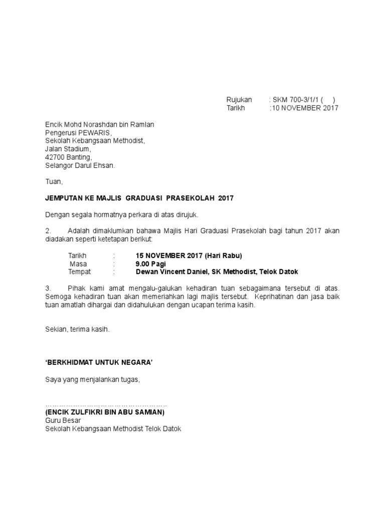 Contoh Surat Rasmi Jemputan Gotong Royong Curatoh Cute766