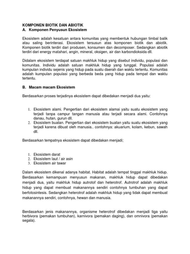 Pengertian Biotik Dan Abiotik : pengertian, biotik, abiotik, Komponen, Biotik, Abiotik