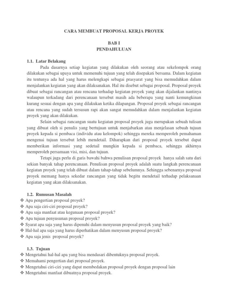 Ciri Ciri Proposal Yang Baik : proposal, Membuat, Proposal, Kerja, Proyek