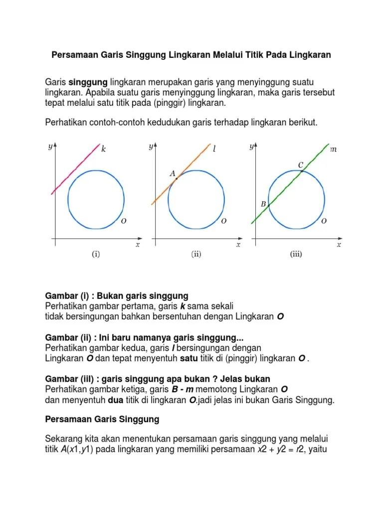 Contoh Soal Garis Singgung Lingkaran : contoh, garis, singgung, lingkaran, Contoh, Persamaan, Garis, Singgung, Lingkaran, Dokter, Andalan