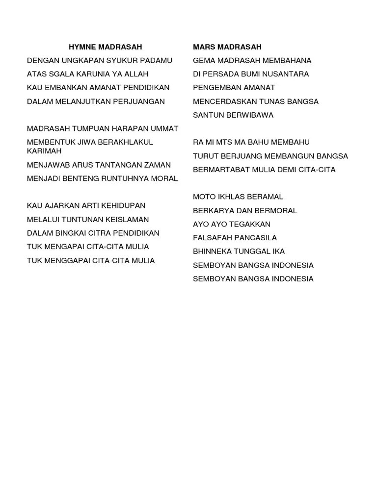 Lirik Hymne Madrasah : lirik, hymne, madrasah, Hymne, Madrasah