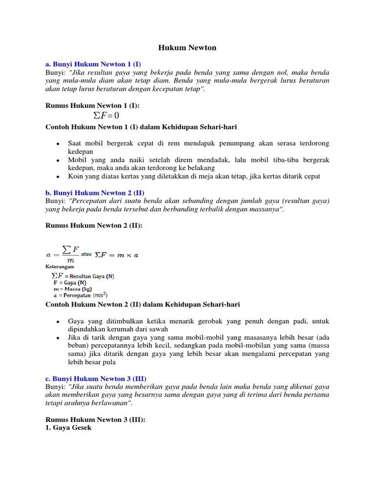 Tuliskan Bunyi Hukum 3 Newton : tuliskan, bunyi, hukum, newton, Contoh, Hukum, Newton
