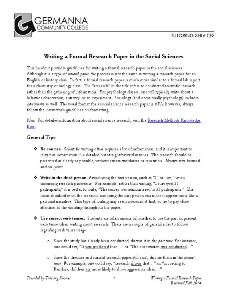 Writing A Formal Research Paper With Apa Survey Methodology