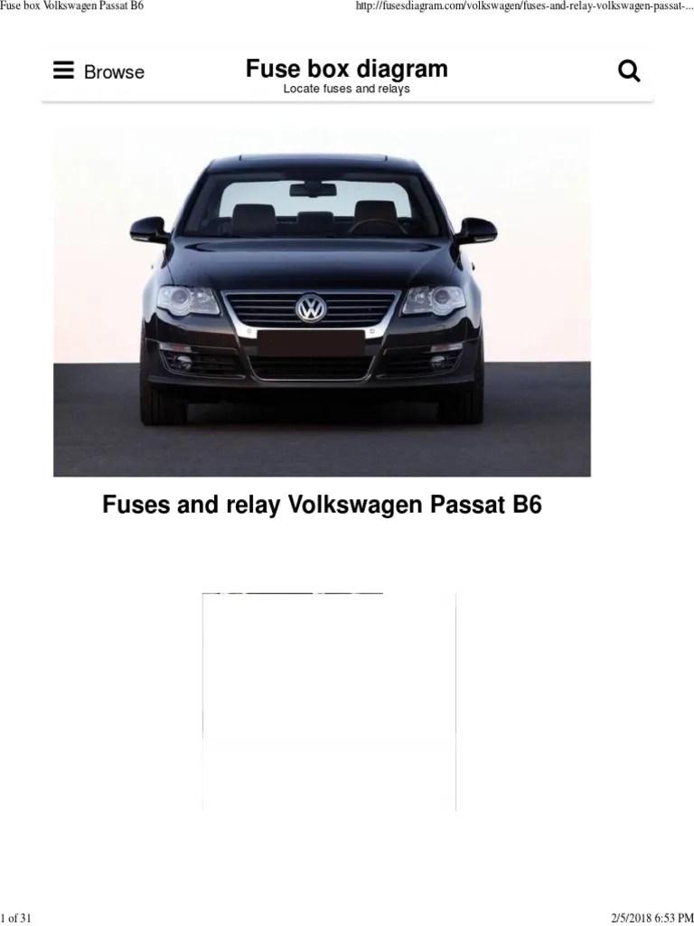 medium resolution of 2006 volkswagen passat 2 0t fuse box diagram