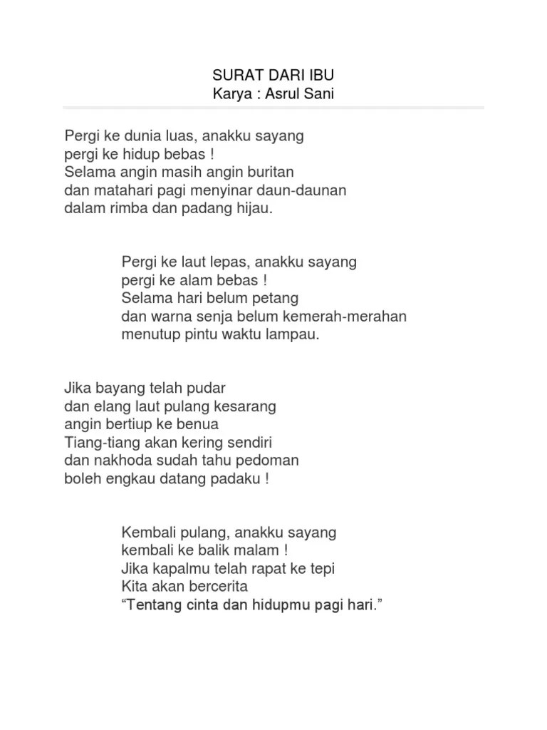 Surat Dari Ibu Puisi Asrul Sani Poetry Reading By