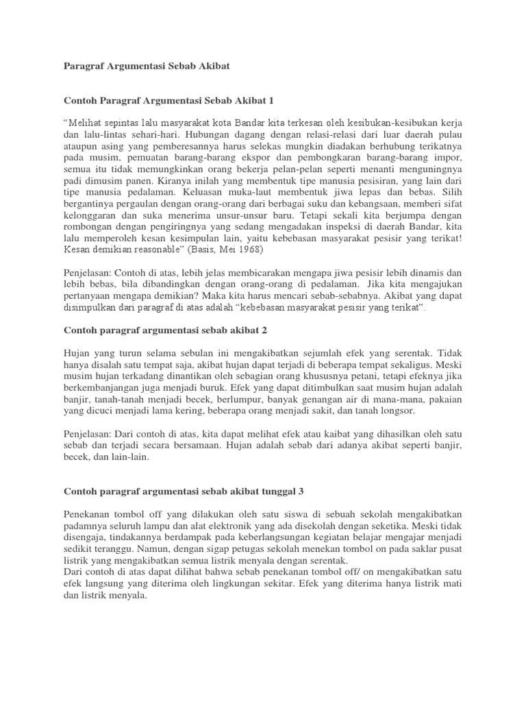 Paragraf Argumentasi Sebab Akibat : paragraf, argumentasi, sebab, akibat, Paragraf, Argumentasi, Sebab, Akibat