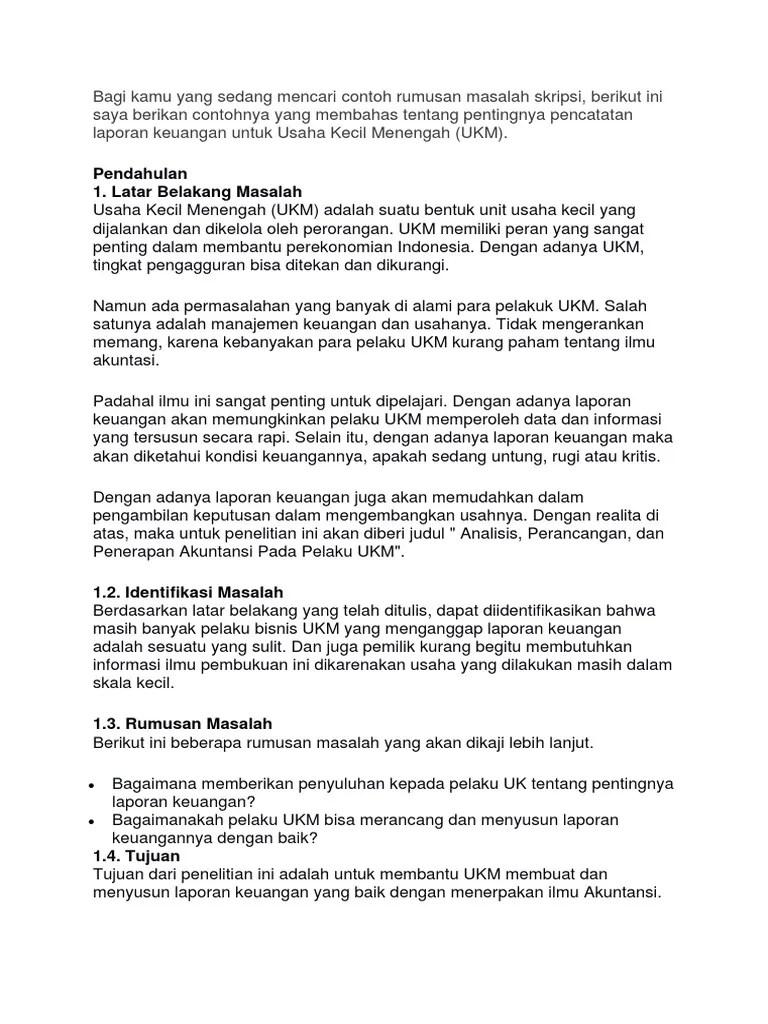 Contoh Rumusan Masalah Skripsi Manajemen Keuangan Pejuang Skripsi Cute766