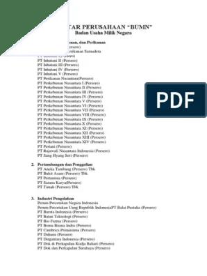 Daftar Nama Nama Perusahaan Bums : daftar, perusahaan, Daftar, Perusahaan, BUMN,, BUMS,