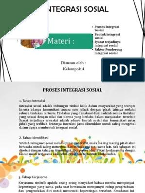 Faktor Pendorong Integrasi Sosial : faktor, pendorong, integrasi, sosial, Integrasi, Sosial, Proses,, Bentuk, Faktor, Pendorong