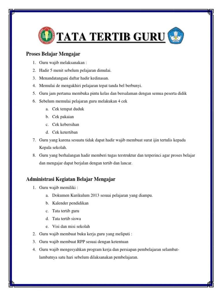 Tata Tertib Guru Indonesia : tertib, indonesia, Tertib