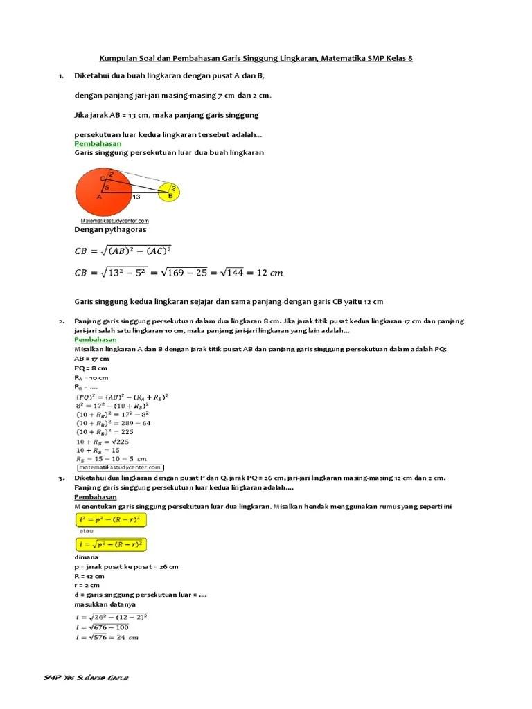 Contoh Soal Garis Singgung Lingkaran : contoh, garis, singgung, lingkaran, Kumpulan, Pembahasan, Garis, Singgung, Lingkaran