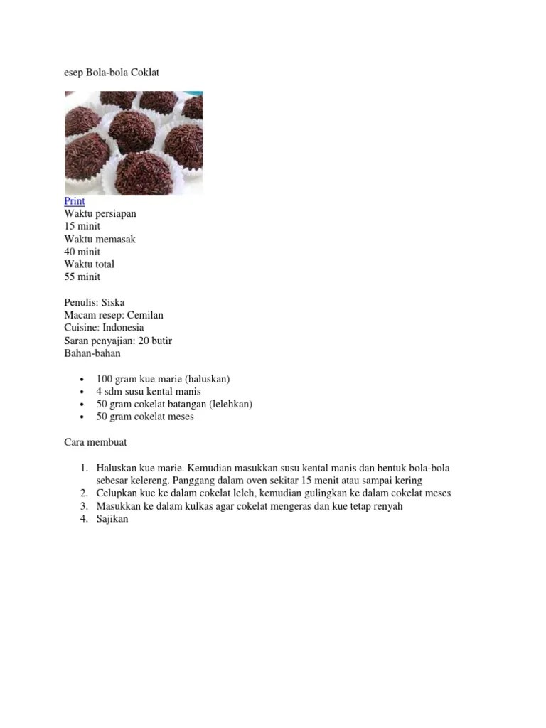 Resep Bola-Bola Coklat, Begini Cara Membuatnya... - TribunStyle.com