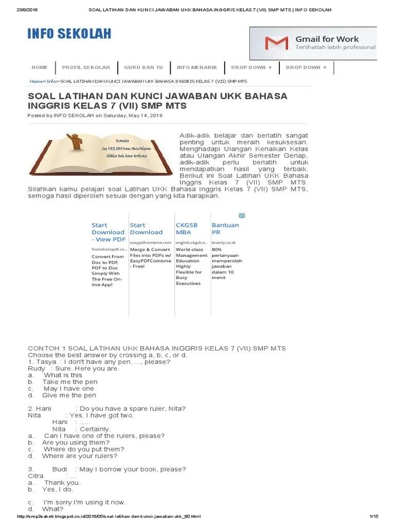 Bank Soal Bahasa Inggris Smp Kelas 7 Dan Kunci Jawaban : bahasa, inggris, kelas, kunci, jawaban, Latihan, Kunci, Jawaban, Bahasa, Inggris, Kelas, (Vii), Sekolah