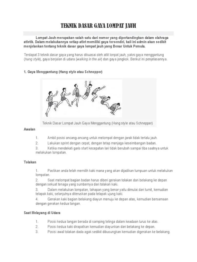 4 Teknik Dasar Lompat Jauh + Gambar Dan Penjelasannya