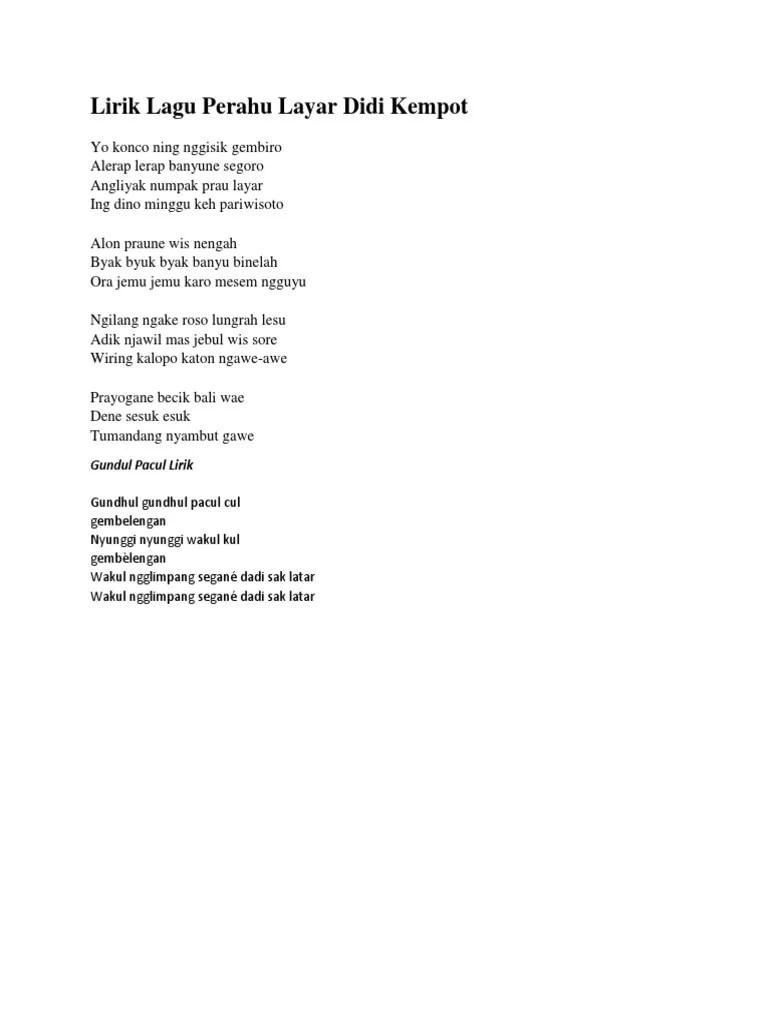 Lirik Perahu Layar : lirik, perahu, layar, Lirik, Perahu, Layar, Kempot