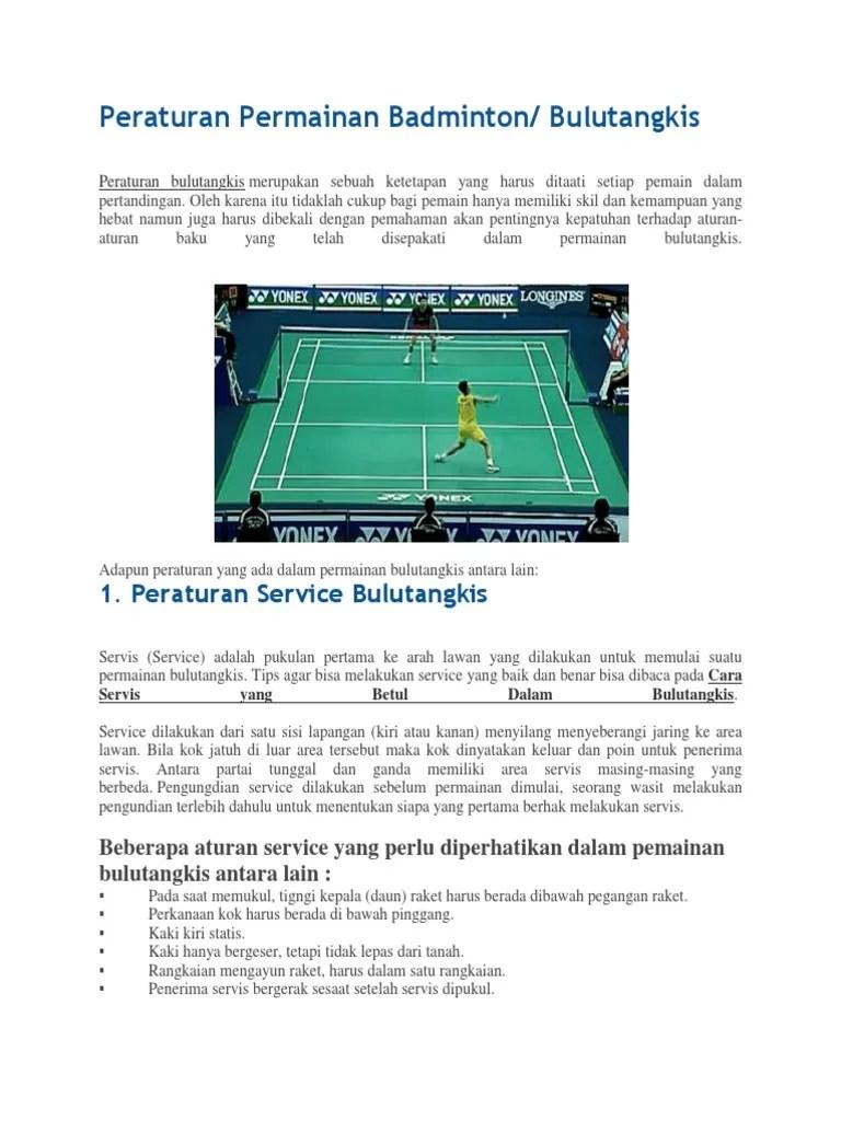 Aturan Main Bulu Tangkis : aturan, tangkis, Peraturan, Permainan, Badminton
