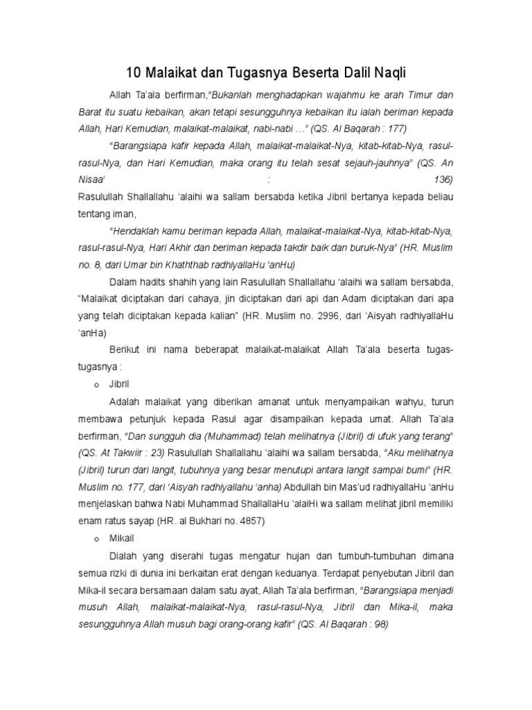Tugas Tugas Malaikat Beserta Dalilnya : tugas, malaikat, beserta, dalilnya, Malaikat, Tugasnya, Beserta, Dalil, Naqli.doc