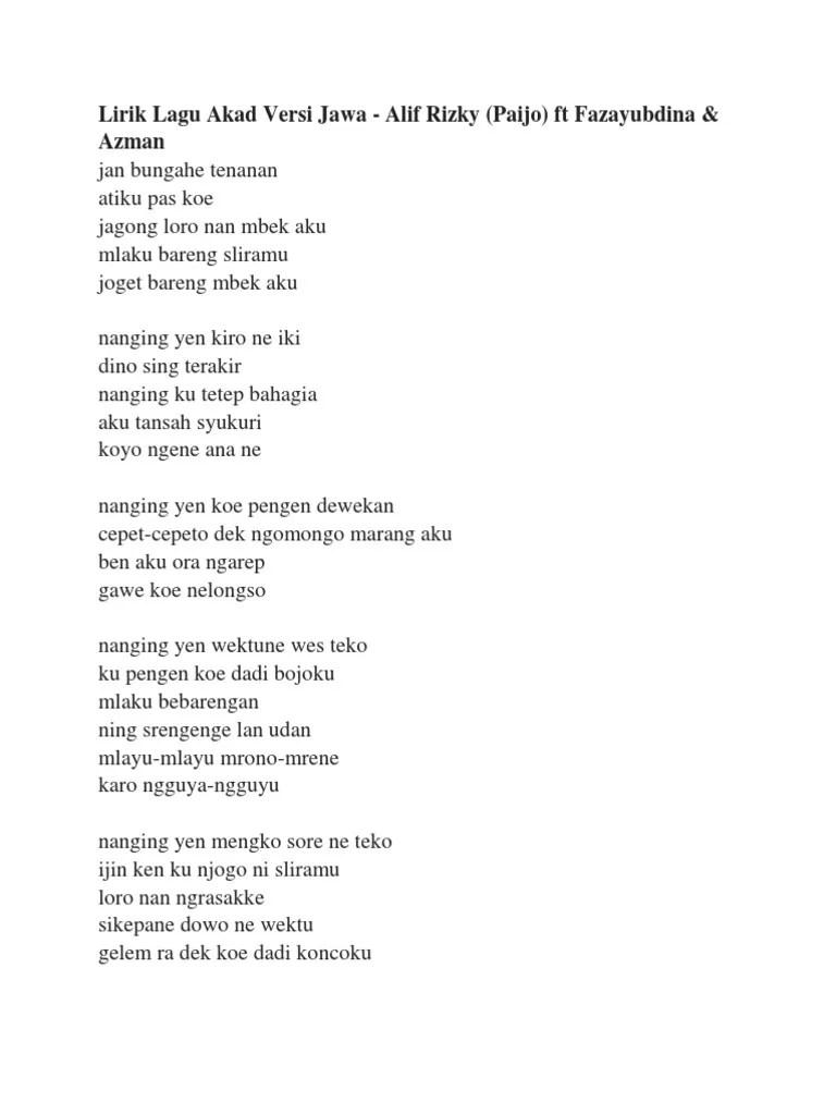 Lirik Lagu Sayang Versi Jawa : lirik, sayang, versi, Lirik, Versi