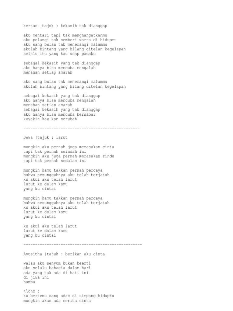 Lirik Kekasih Tak Dianggap : lirik, kekasih, dianggap, Lirik