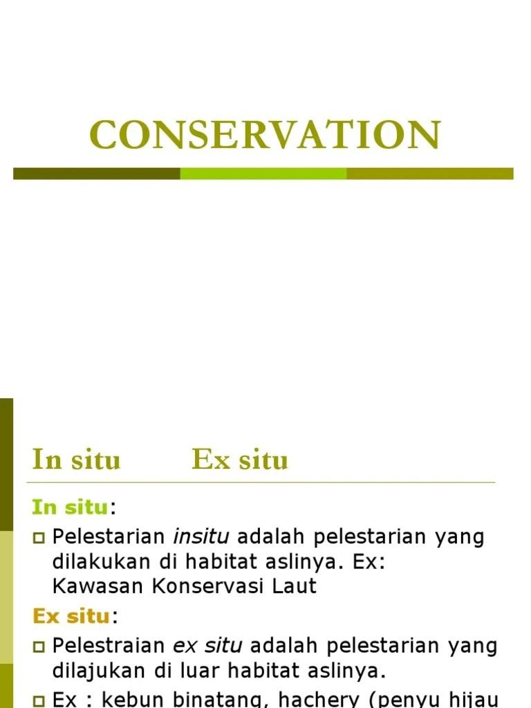 In Situ Adalah : adalah, Conservasi