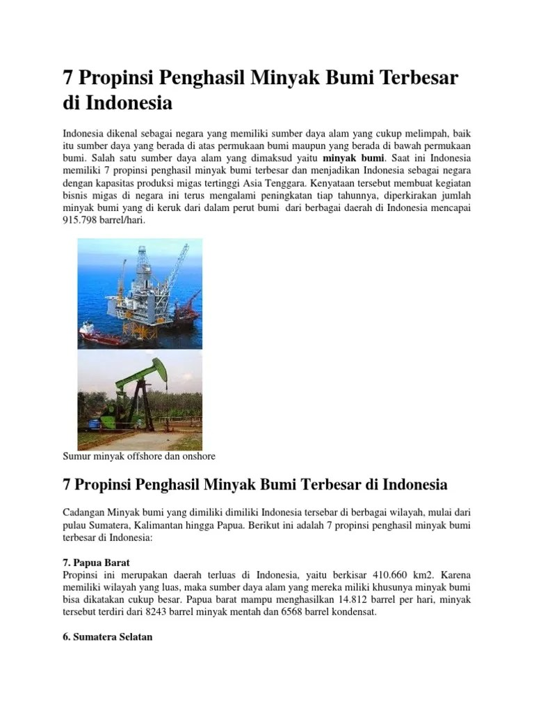 Daerah Penghasil Minyak Bumi Di Pulau Jawa : daerah, penghasil, minyak, pulau, Propinsi, Penghasil, Minyak, Terbesar, Indonesia