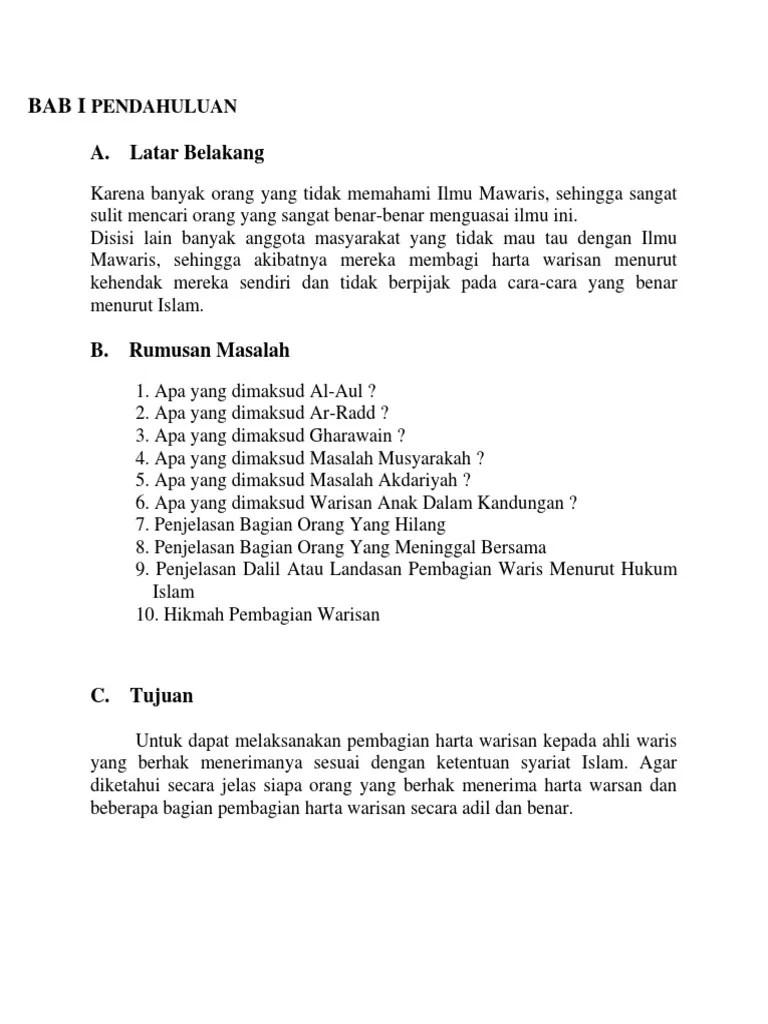 Hikmah Hukum Waris : hikmah, hukum, waris, Makalah, Masalah, Warisan