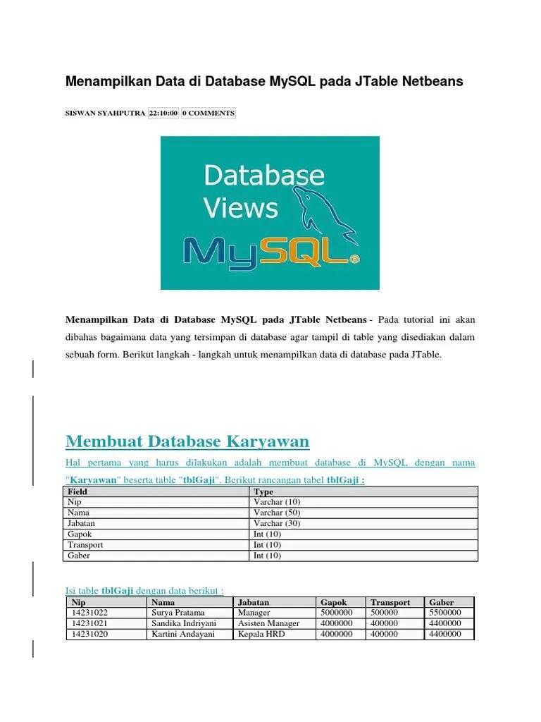 Menampilkan Data Dari Database Ke Jtable Netbeans : menampilkan, database, jtable, netbeans, Menampilkan, Database, MySQL, JTable, Netbeans