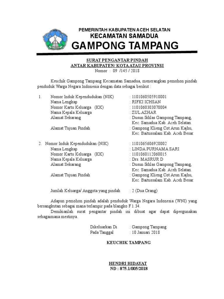 Contoh Surat Pindah Penduduk Antar Kecamatan Kumpulan Cute766