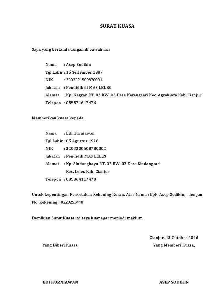 Surat Kuasa Rekening Koran : surat, kuasa, rekening, koran, Surat, Kuasa, Cetak, Rekening, Koran