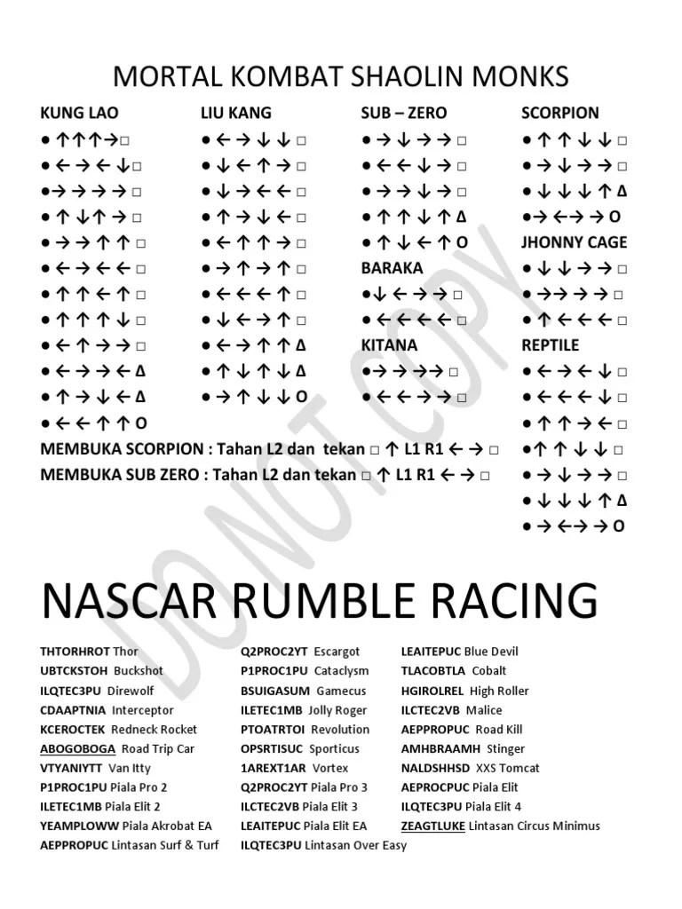 Kode Nascar Rumble Racing : nascar, rumble, racing, Mortal, Kombat, Shaolin, Monks