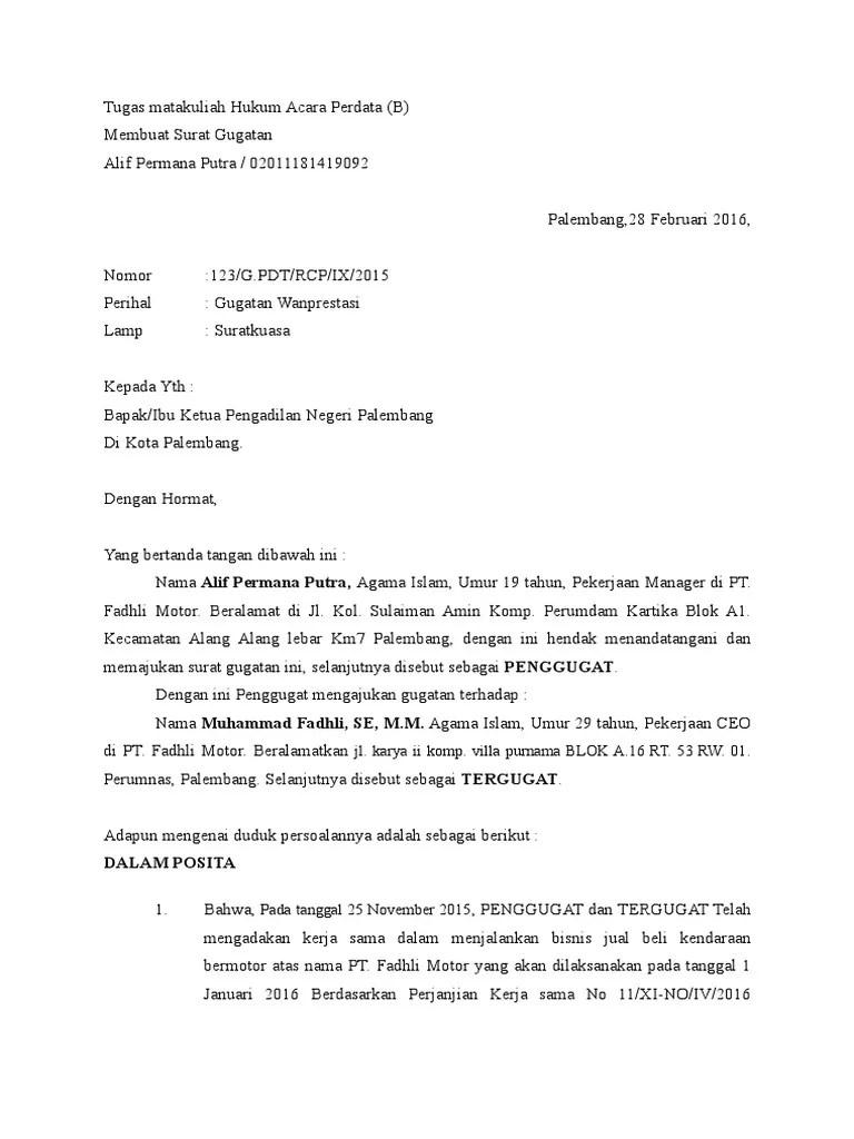 Contoh Surat Gugatan Perbuatan Melawan Hukum 2019 Kumpulan Contoh Surat Lengkap Cute766