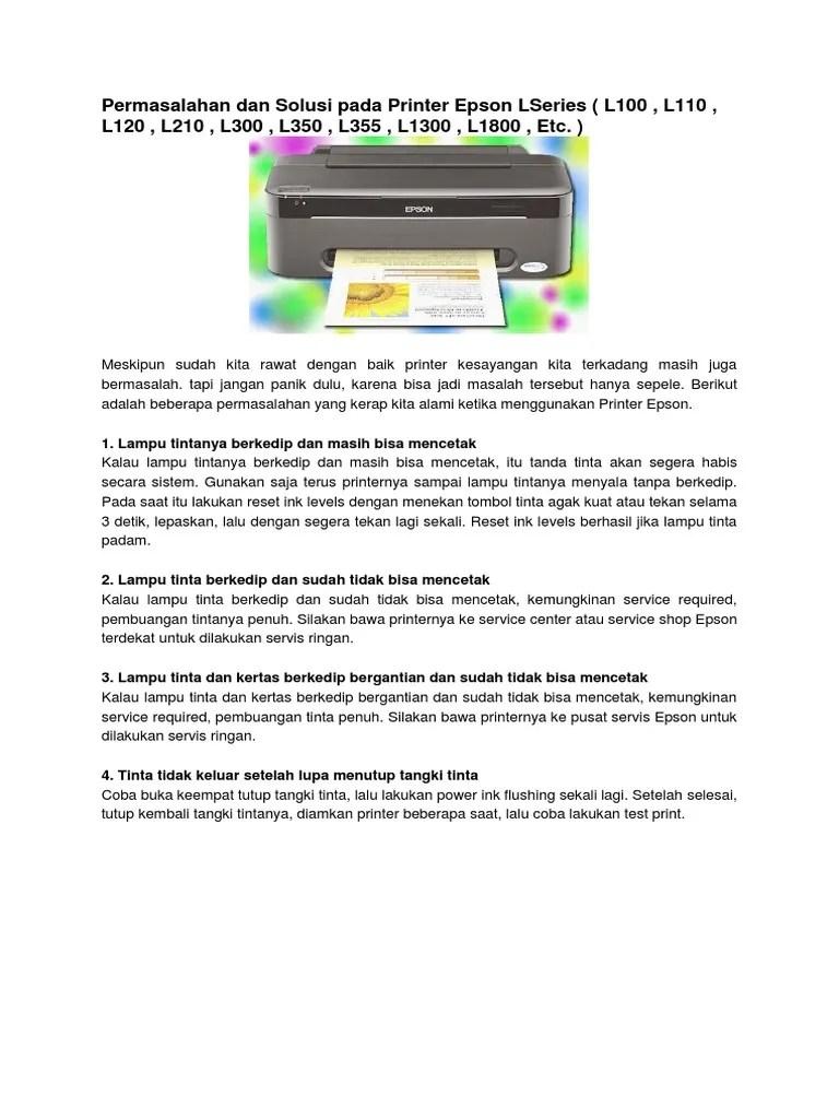 Cara Reset Printer Epson L1300 Tanpa Software : reset, printer, epson, l1300, tanpa, software, Epson, Berkedip, Bergantian, Dengan