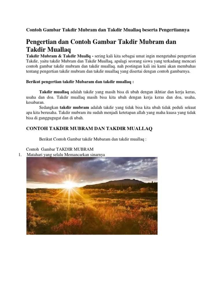 Contoh Takdir Muallaq : contoh, takdir, muallaq, Takdir, Mubram, Beserta, Contohnya