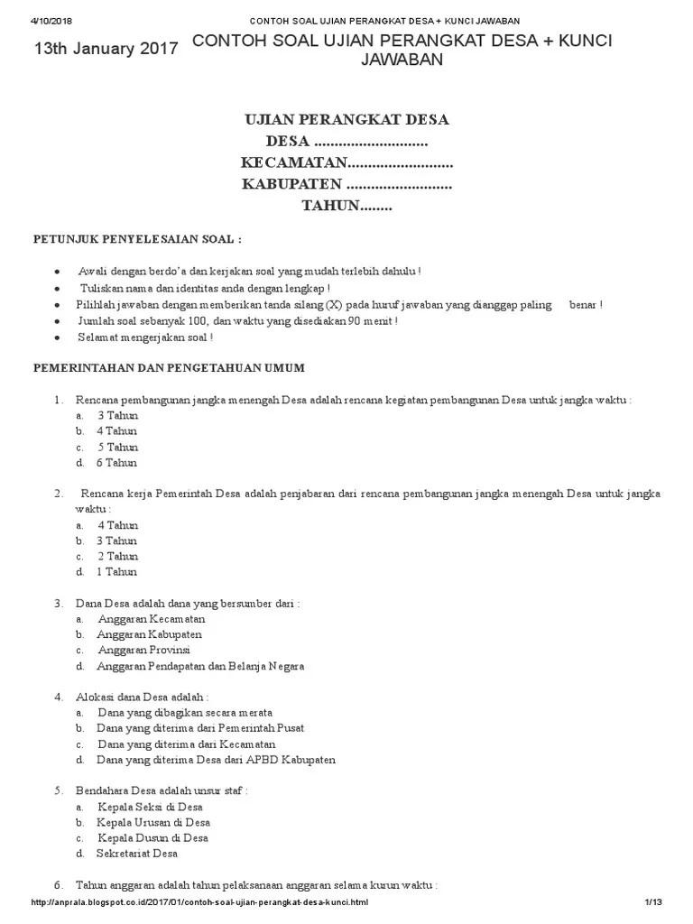 Soal Tes Perangkat Desa Dan Kunci Jawaban : perangkat, kunci, jawaban, Contoh, Ujian, Perangkat, Kunci, Jawaban, Cute766