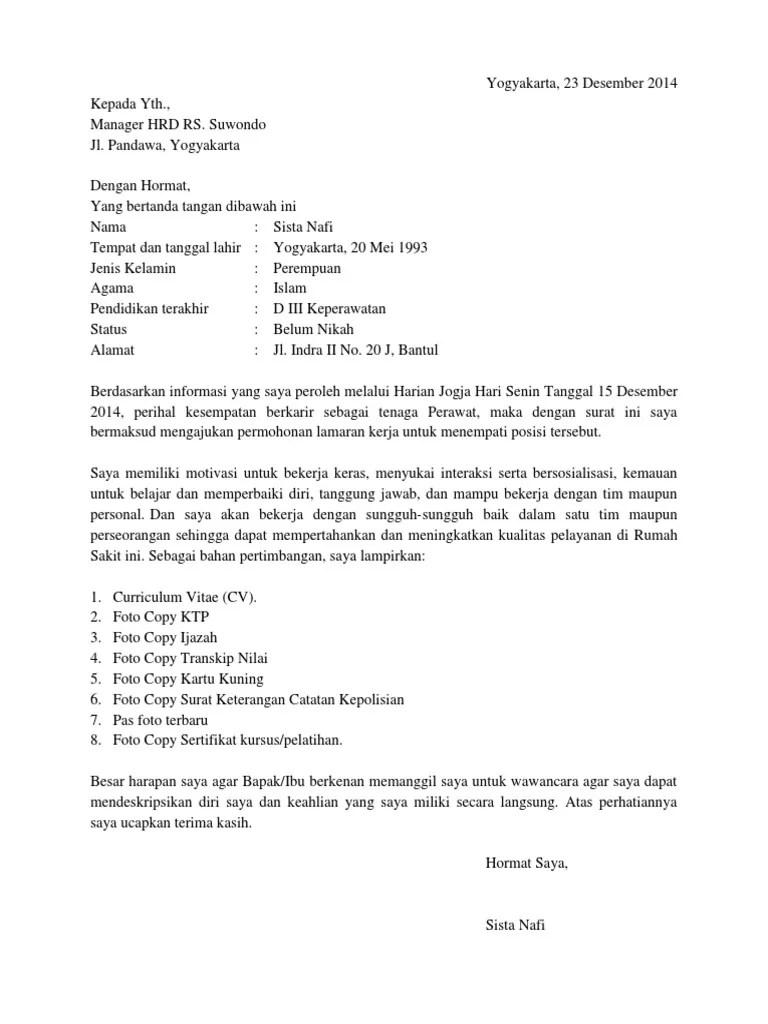contoh surat lamaran kerja perawat di dinas kesehatan