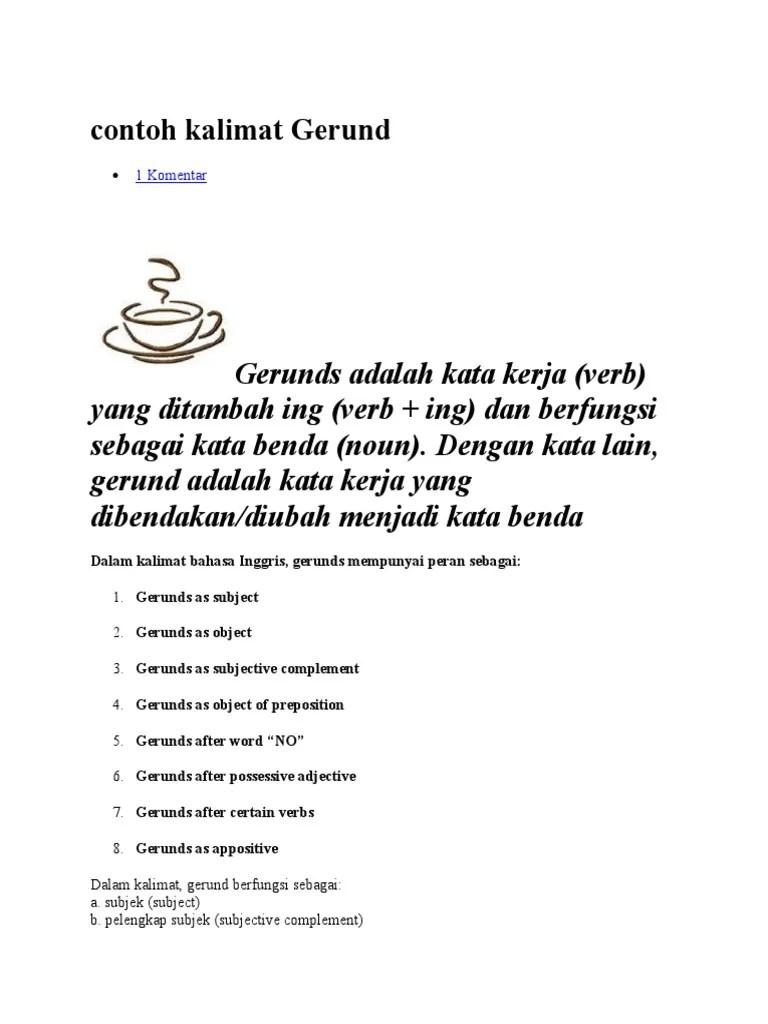 Contoh Kalimat As : contoh, kalimat, Contoh, Kalimat, Gerund